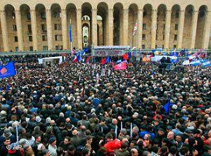 Сегодня в Грузии 150 тыс. демонстрация протестующего народа вышла на площадь в Тбилиси и требует отставки президента Саакашвили, который проводит антинародную политику